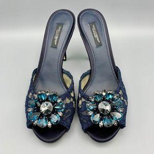 NIB DOLCE & GABBANA Peep Toe Lace Mules Sandals